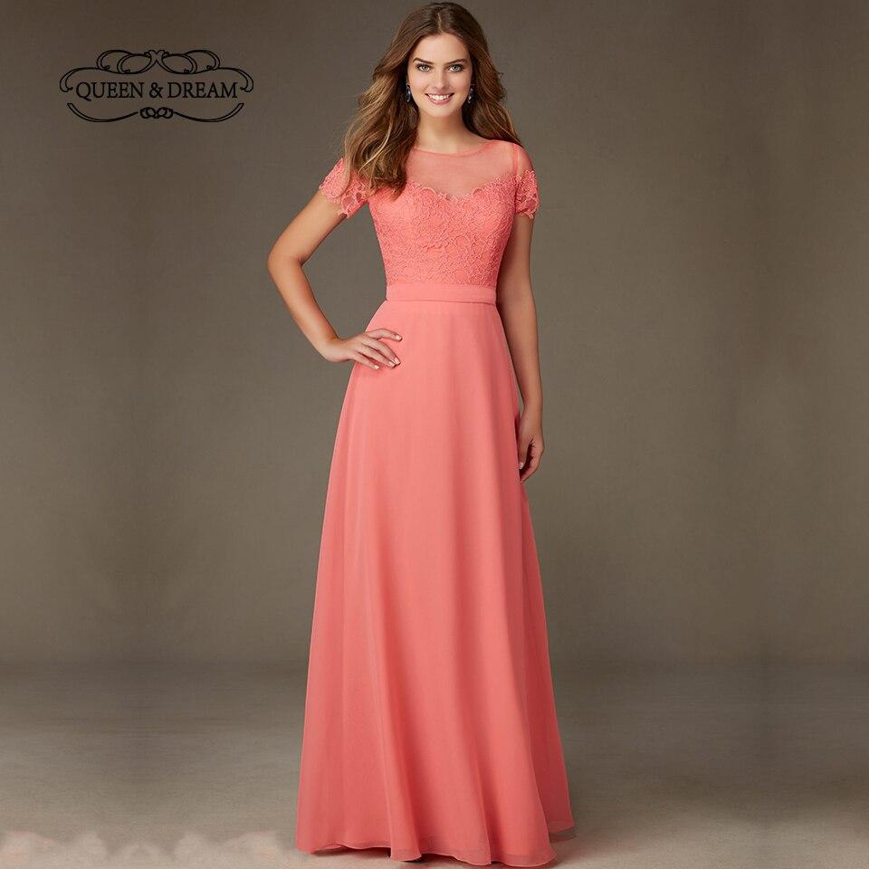 Short Sleeve Lace Wedding Dresses 2016 Chiffon Simple: Formal Pink Lace Chiffon Satin Short Sleeves Long Girls