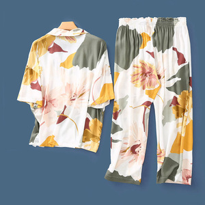 Image 2 - Summer New Nightgown Flower Ink Printing Satin Pajamas Short sleeved Sleepwear Ankle Length Pants Loungewear Pijama Home Clothes