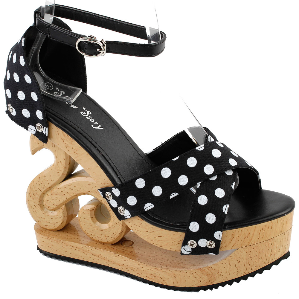 LF30834 Red/Black White Polka Dot Ankle Strap Wooden Wedges Platform Clogs Party Sandals lf30834 red black white polka dot ankle strap wooden wedges platform clogs party sandals