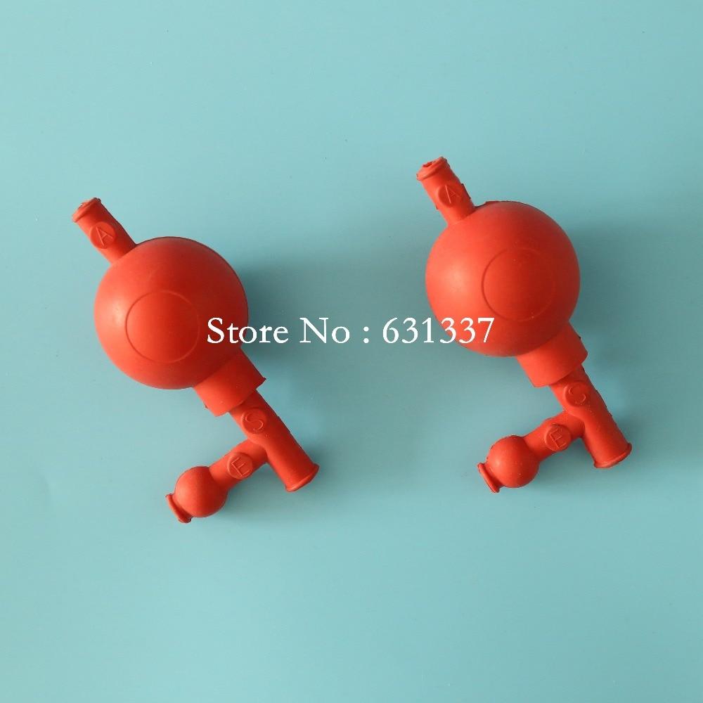 Pipette Λάμπα πλήρωσης Χημική επίστρωση από καουτσούκ με 3 βαλβίδες για αναρρόφηση, Κόκκινο