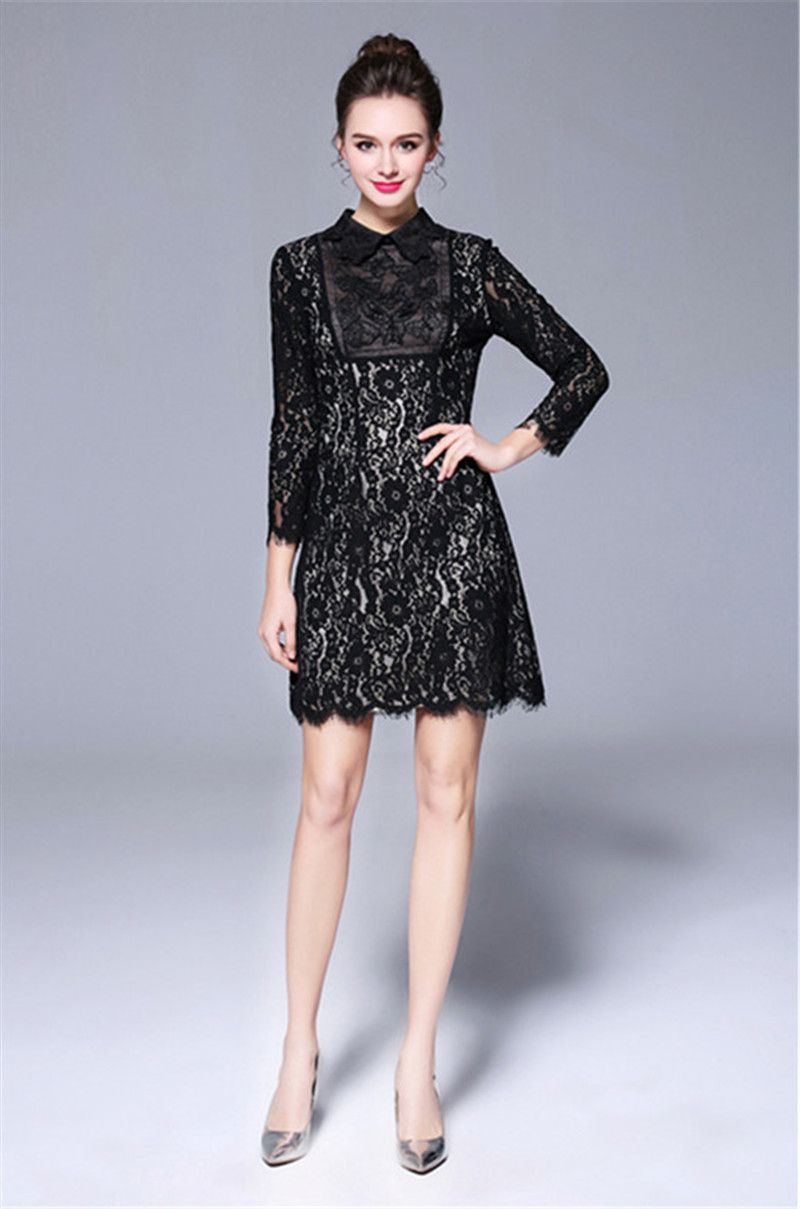 Sexy Butterfly Beading Lace Dress 2018 Summer Hepburn Style Black Little Dress Fashion Turn-down Collar Plus Size Party Dress contrast collar & cuff pearl beading dress