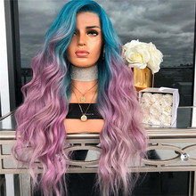 379e568f5 Factory price 1pc Women Fashion Lady Pink Purple Wavy Long Curly Straight  Cosplay Hair Wigs Stand