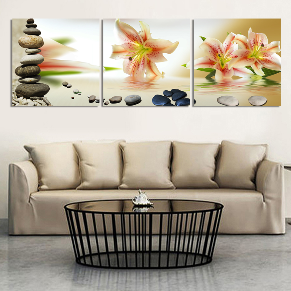 3panel wall art oil painting stone white flower candels home ...