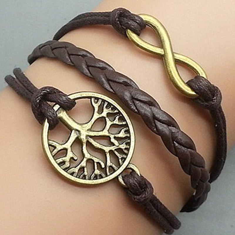 Vintage Bracelet - HOT FASHION Leather Coffee Bronze Retro Vintage Style Letter 8 Tree Bangle Bracelet Jewelry #1786202