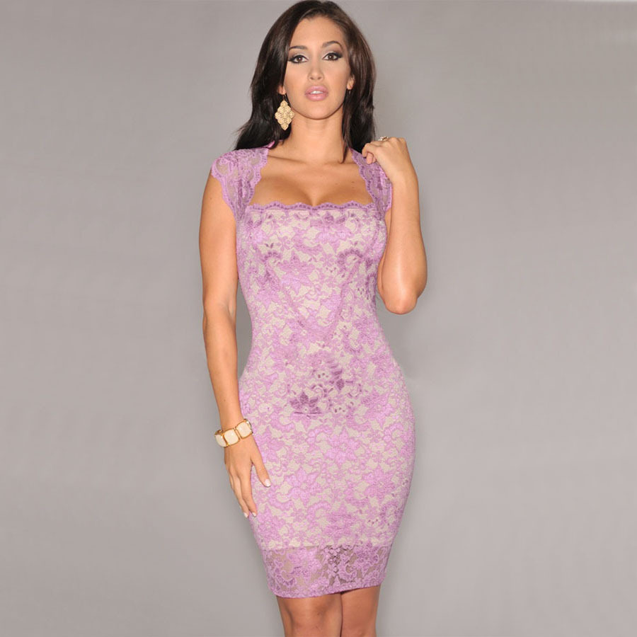 S XXL Pink Purple Red Black Sexy Bodycon Lace Dress Summer Autumn ...