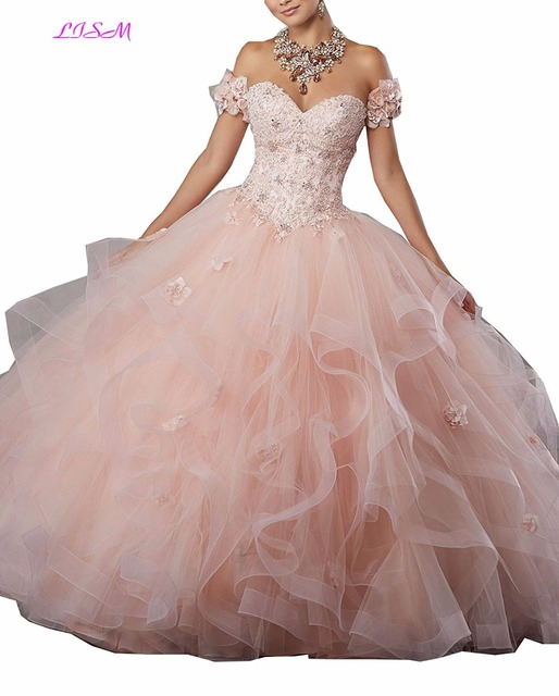 2cc2e2511d Sweetheart Lace Appliques Sweet 16 Quinceanera Dress Debutante Flowers  Beadings Tulle Prom Party Gowns Long Lace up Formal Gowns