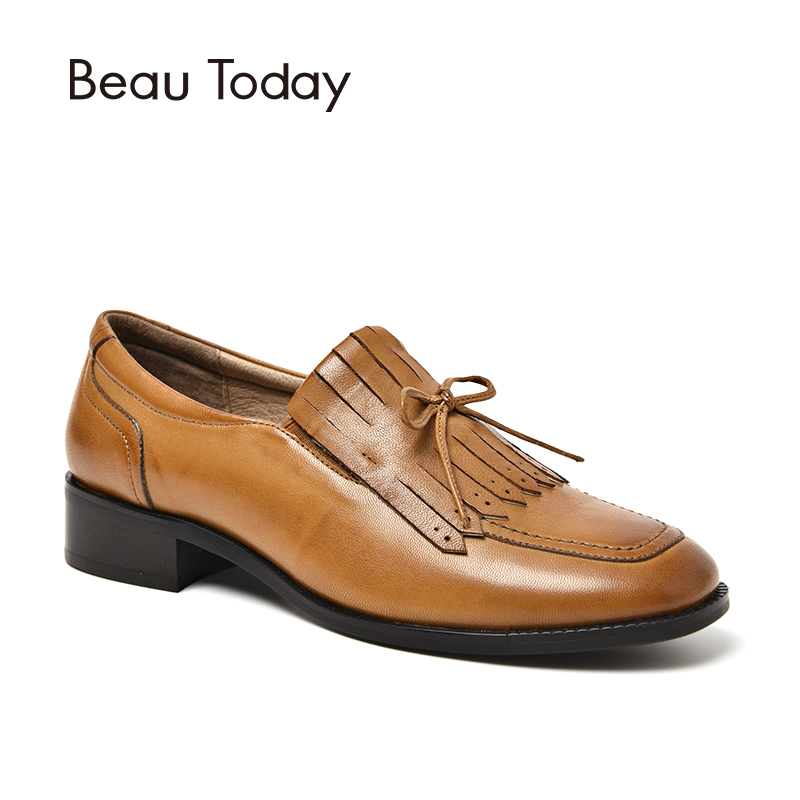 BeauToday Loafer Shoes Genuine Leather Sheepskin Butterfly-knot Square Toe Casual Flats Female Shoes Handmade 27091 цена 2017