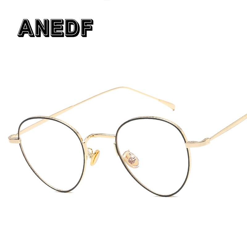 Brillenrahmen GemäßIgt Anedf Retro Frauen Oval Goldene Metall Brille Rahmen Marke Designer Vintage Weibliche Klare Linse Brillen 52059 Damenbrillen