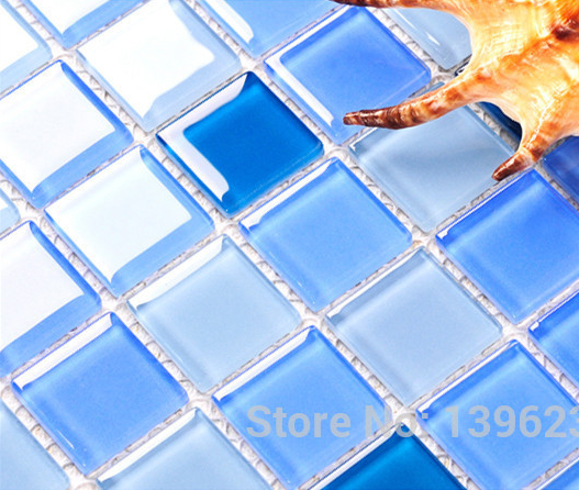 Swimming pool Crystal Blue glass puzzle wall tiles,Kitchen backsplash Bathroom decor 3D background sticker,FREE SHIPPING,LSNSJ08 пазлы crystal puzzle 3d головоломка вулкан 40 деталей