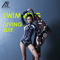 Life on track Women's Active Swimwear Long Sleeve Zipper Front One Piece Swimsuits Diving Suit