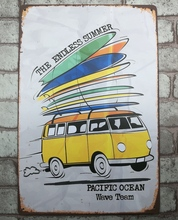 1 pc Endless Summer Surfing Van Ocean Tin Plate Sign plate wall man cave Decoration Metal Art Dropshipping Poster metal