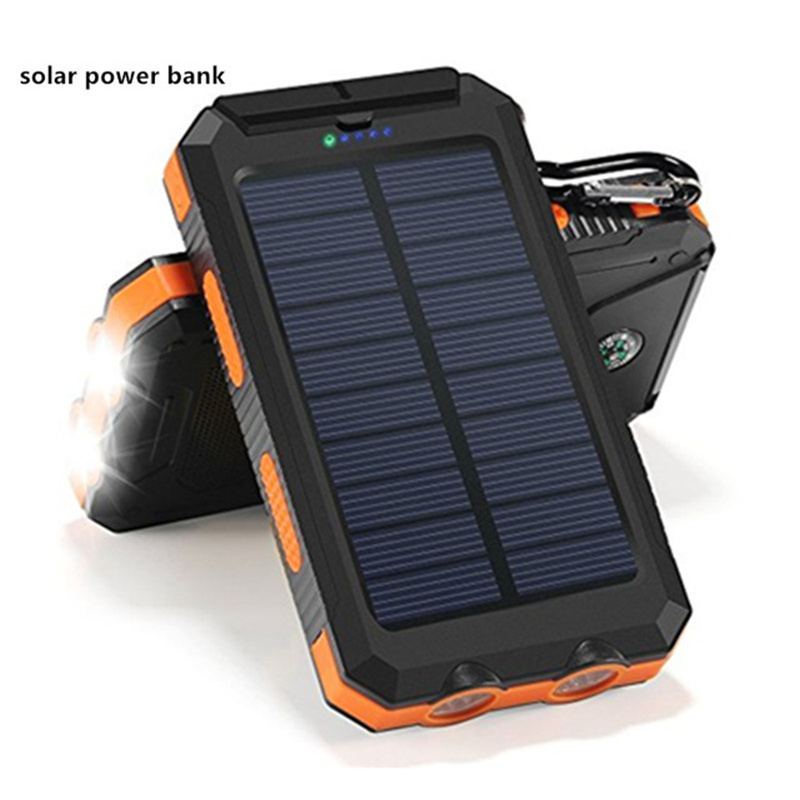 Waterproof <font><b>Solar</b></font> Power Bank <font><b>Solar</b></font> Charger Dual USB Power Bank 20000mah external battery LED Light powerbank for iPhone