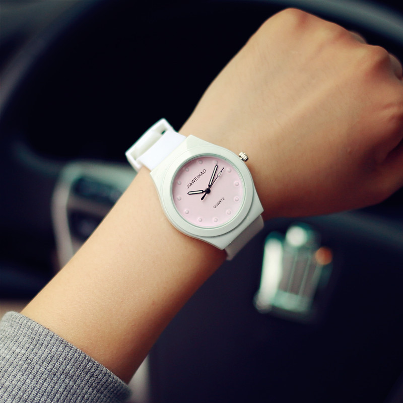 Hot Sale Jelly Silicone Rubber Candy Quartz Watch Wristwatches for Women Girls Students Pink White OP001