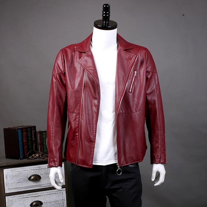 Nuovo 2017 Autunno Abbigliamento Uomo Rosso Nero Faux Giacca