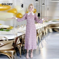 New Celebrity Inspired Women's Dress 2018 Autumn Women Lace Turn down Collar Chic Print Long Sleeve A Line Party Tunic Dress