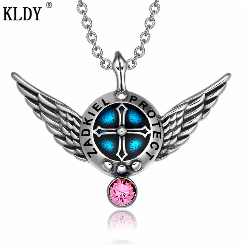 KLDY Natural Stone Necklace Pink Crystal Stainless Steel Pendant Best Amulet Series Health Lucky