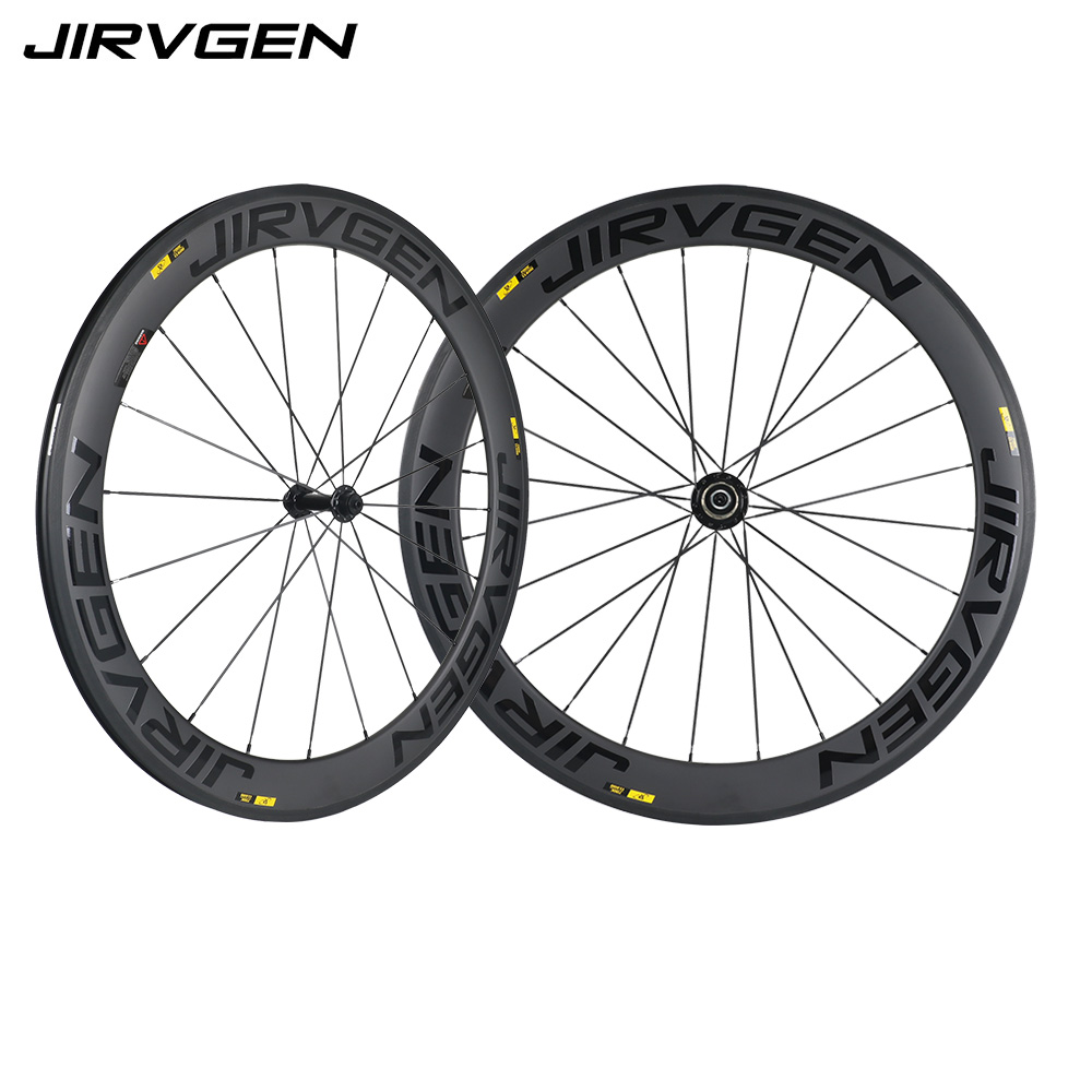 Road Racing Bicycle Wheelset Clincher 700C 60MM Bicycle Carbon Wheel Set UD black powerway Hubs Spoke Rim Cycling Road Wheels black 7 spoke plastic wheel rim