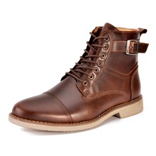 OTTO Spring/Autumn Retro Full Grain Cow Genuine Leather Ankle Boots Fashion Men brush off Shoes Boots Dress Boots size 44,Stock