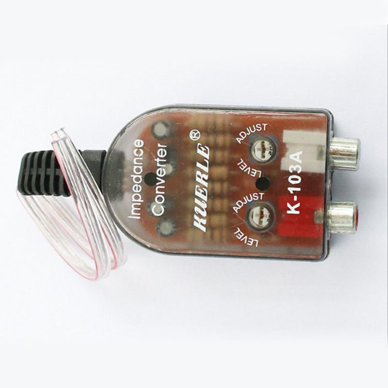 12V Universal RCA Line <font><b>Car</b></font> <font><b>Subwoofer</b></font> Stero Radio Converters Speakers High To Low <font><b>Car</b></font> <font><b>Audio</b></font> Amplifier Impedance Converter Auto image