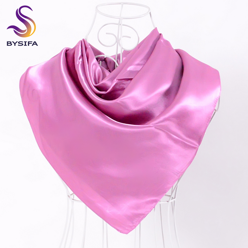 BYSIFA Ladies Plain Silk Scarves Trendy Fashion Accessories Spring Autumn Women Decorative Head Scarves New Purple Pink Scarves