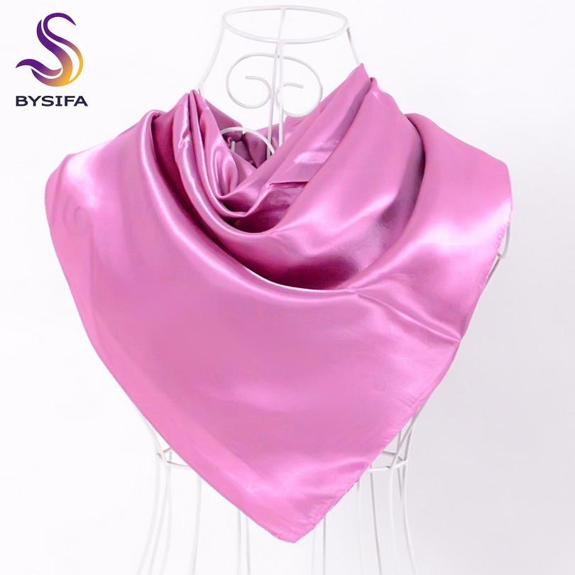BYSIFA Ladies Plain Silk Scarves Trendy Fashion Accessories Spring Autumn Women Decorative Head Scarves New Purple Pink Scarves