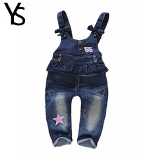 3m-3Years Top Quality 100% Cotton Infant Baby Girls Overalls Denim Jeans Baby Jumpsuit Rompers Clothes Toddler Clothing