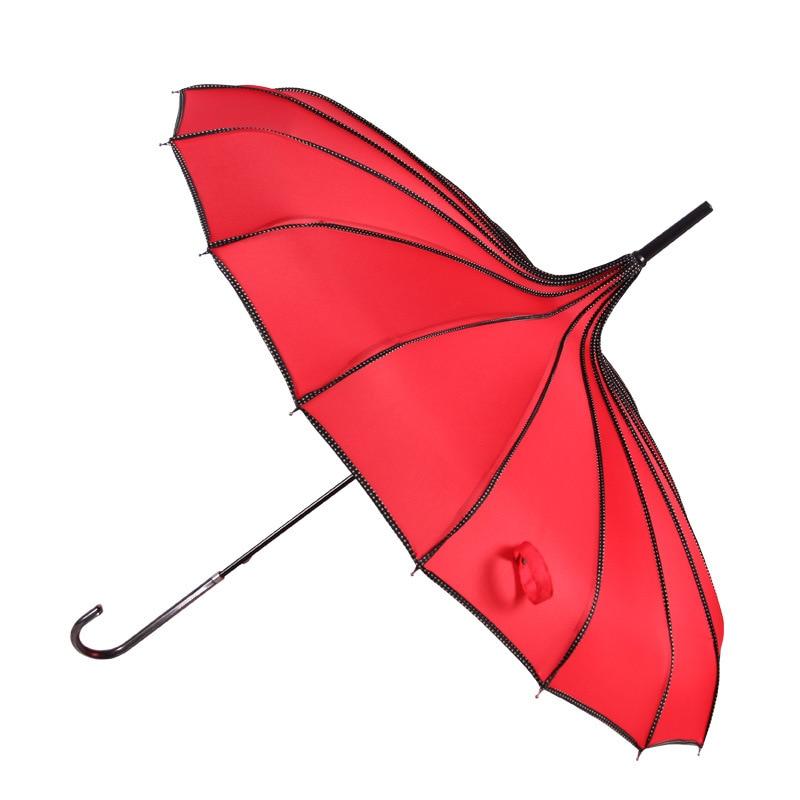 Fotografia Puntelli Principessa Ombrello Regalo Lunga Mano di Protezione UV Ombrello Pioggia e Sole Colorful Pagoda Ombrelli YS061
