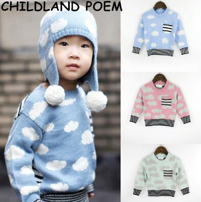2017 suéter del bebé del resorte de nubes de dibujos animados los niños suéter de punto cardigan bebé Suéter niña suéter niño niños suéter