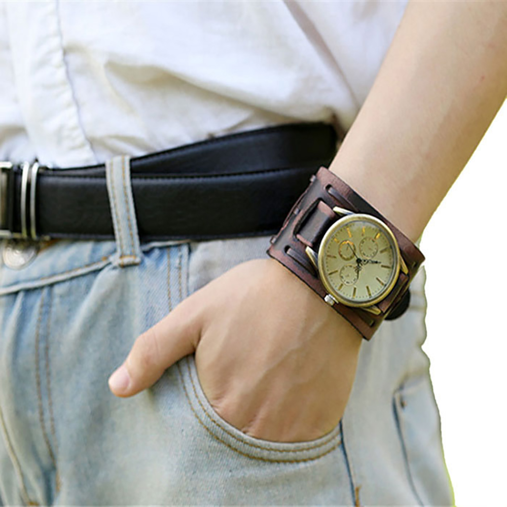 Fashion Men's Watch New Style Retro Punk Rock Brown Big Wide Leather Bracelet Cuff Men Watch Cool Top Dropshipping 15P 2016 hot unisex women men new style retro punk rock brown big wide leather bracelet cuff men watch cool