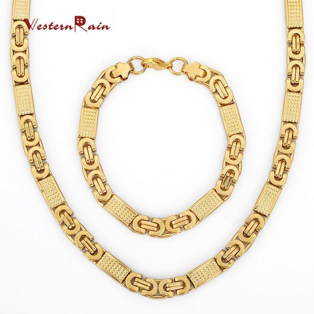 Zeer Goud Kleur Rvs Ketting Jongens Mens Chain Hoge Kwaliteit Mode  &HX85