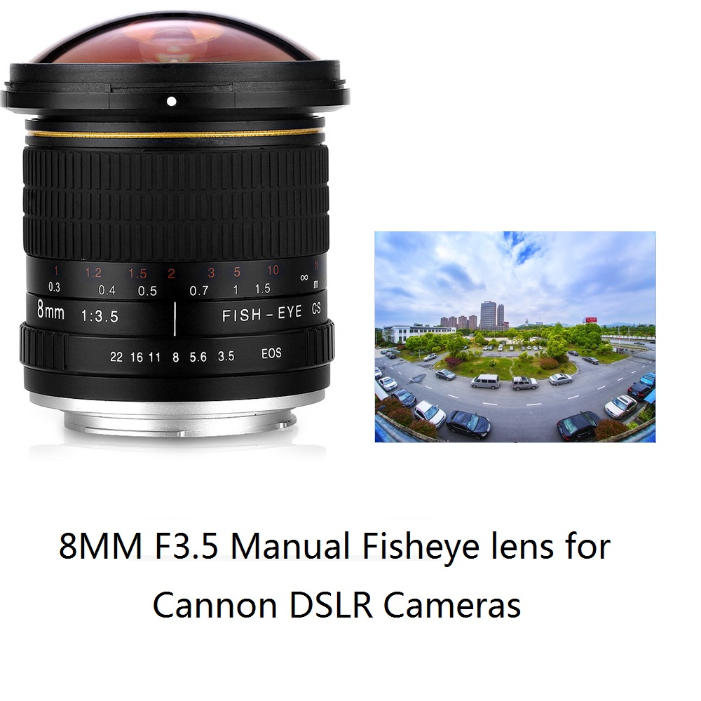 Lightdow 8mm F/3.5 Manual Ultra Wide Angle Fisheye Lens for Canon Half Frame Cameras 1200D 760D 750D <font><b>700D</b></font> 750D 600D 70D 60D 77D image