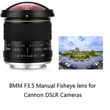 Lightdow lente ojo de pez gran angular, Manual, 8mm, F/3,0, para cámaras Canon de medio Marco, 1200D, 760D, 750D, 700D, 750D, 600D, 70D, 60D, 77D