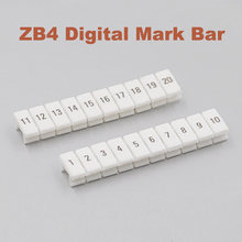 Tiras de marcador digital ZB4 para UK-1.5N Din Rail Terminal bloque Mark bar morsettiera ZB-4 bornier terminales marca etiqueta(China)