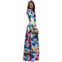 Plus Size S 4XL European American Style Women Runway Maxi Long Dress Colorful Flowers Printed Bohemian