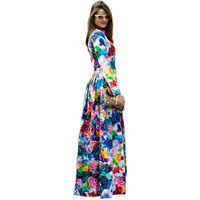 Plus Size S 4XL European American Style Women Runway Maxi Long Dress Colorful Flowers Printed Bohemian