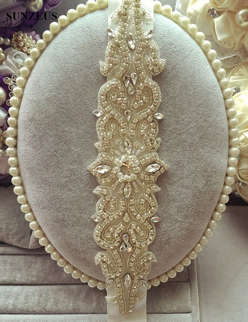 High Quality Empire Wedding Accessories Belts Sparkly Beaded Crystals Pearls Charming Long Wedding Sashes for Women S1239