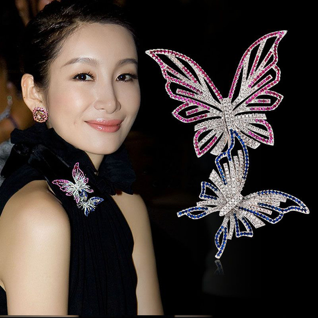 Wedding Brooches Luxury Elegant Woman Butterfly Brooch Bowknoch Pins Scarf Buckle Jewelry Accessory