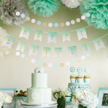 Mint Green Birthday Party Decoration Happpy Birthday Banner Circle Dots Garland Hanging Swirl Decor Tissue Paper Pom Pom Flowers недорого