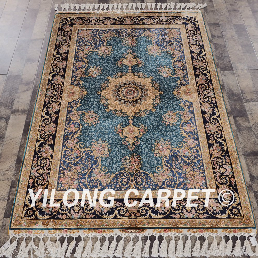 Yilong 4 X6 Hand Knotted Persian Rugs Iran Oriental Medallion