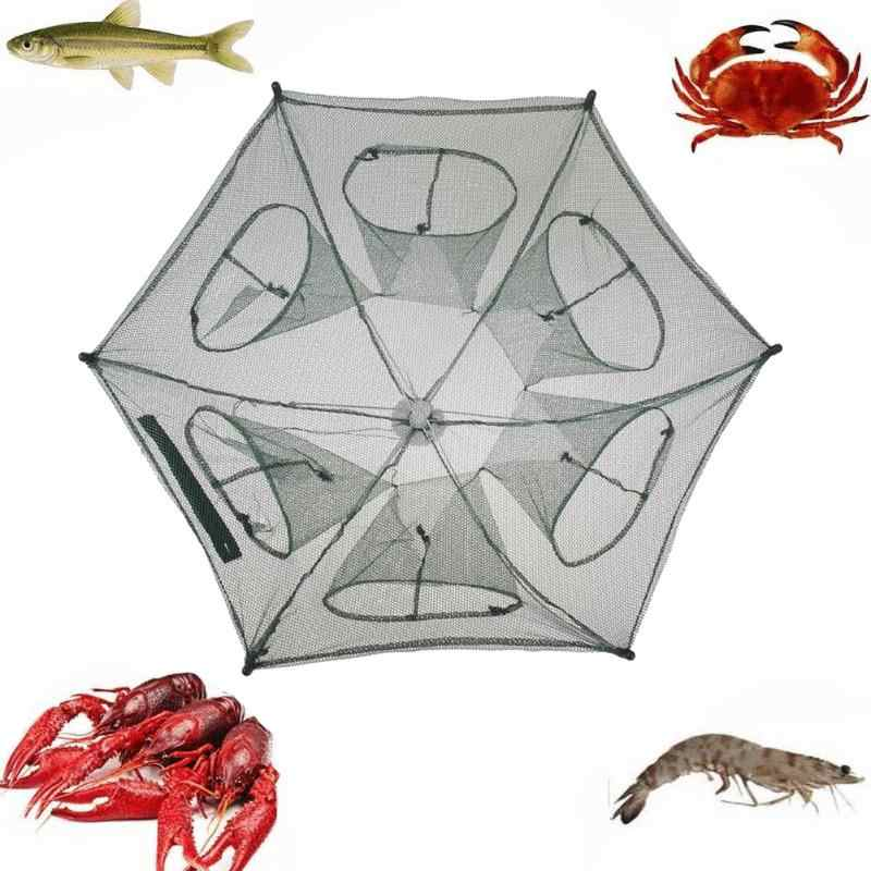 Automatic Fishing Net Trap Folded Hexagon 6 Holes Portable Fish Network Crayfish Shrimp Minnow Crab Tank Trap Mesh Trap Nylon