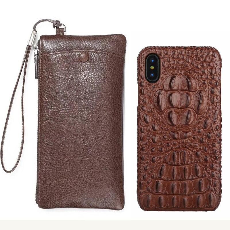 MCKROCNL Réel Portefeuille En Cuir + Couverture Arrière Pour Téléphone XS Max 8 Plus De Luxe 3D Véritable En Cuir Couverture Arrière Pour téléphone X 10 cas sac