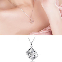 Love Square Pendant Necklace Fashionable Rubiks Cube Female