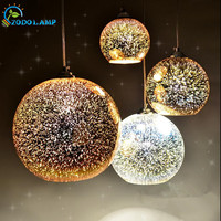 Classic Design LED Lamp Pendant Light Diameter 20cm Colorful Plated Glass Mirror Ball Hanging Light Fixture