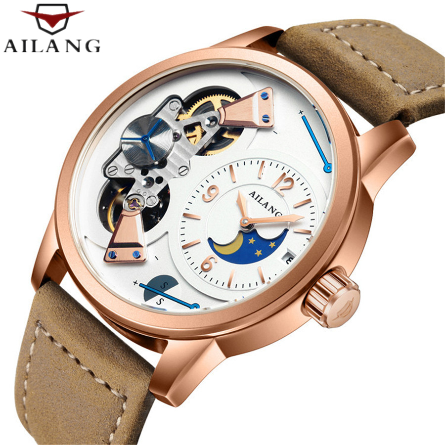 AILANG Tourbillon Automatic Mechanical Watch Top luxury brand Men watch Business Leather Calendar Wrist watch Relogio Masculino luxury mechanical wathes top brand carnival tourbillon business men watch calendar luminous sapphire automatic watch men relogio