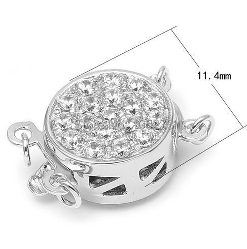 Zircon circular double breasted 925 silver, DIY high grade natural pearl crystal necklace, bracelet clasp.11.4MM L 61
