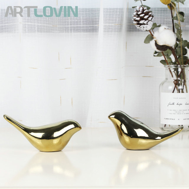 2020 Creative Gold Decorations Ceramic Golden Bird Figurines Home Decoration Accessories Bird Figure Fashion Wedding Ornaments 5