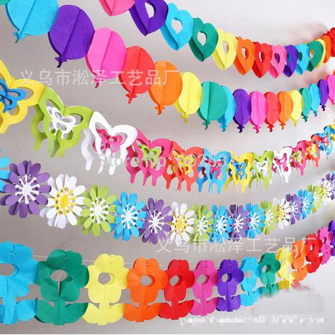 Wedding Flowers Decorations New Room Cheap Paper Craft Wall Mounted Purple Orange Pink Green