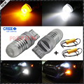 Canbus Error Free High Power CRE'E 7443 T20 992 Dual-Color Switchback LED Bulbs For Front Turn Signal + Load Resistor Combo