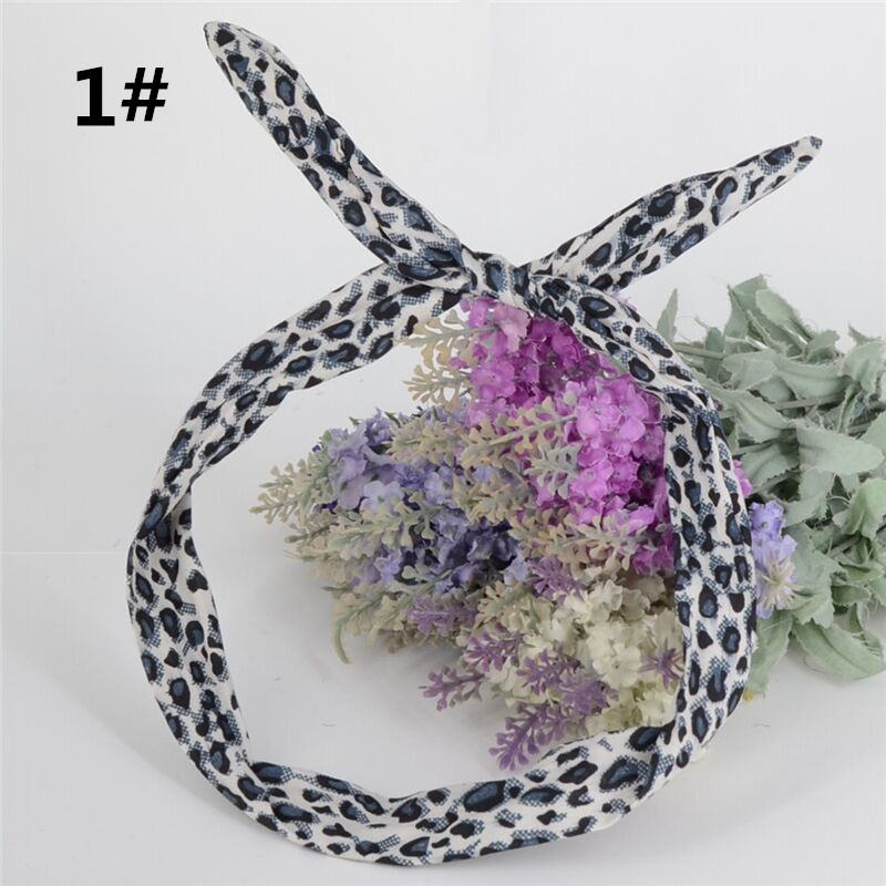 1Pc Cute Leopard Bunny Rabbit Ear Ribbon   Headwear   women Hairband Metal Wire Scarf Headband Hair Band Accessories 5 Colors