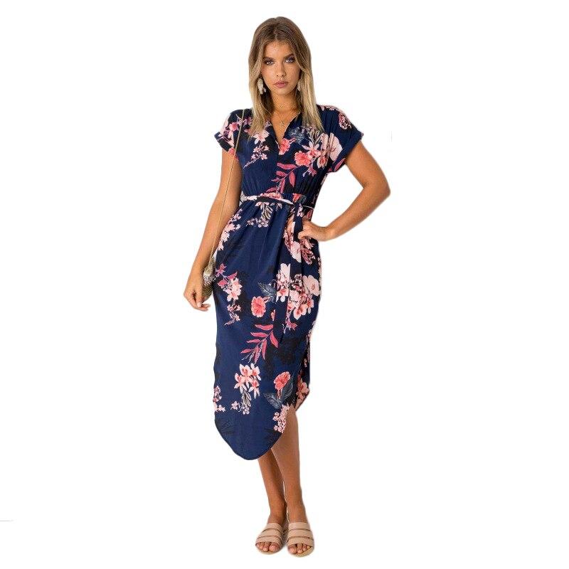 Sommer Kleid Frauen 2018 Sommerkleid Vestidos Weiß Print Kurzarm Casual Plus Größe Kleider XXXL Robe Femme